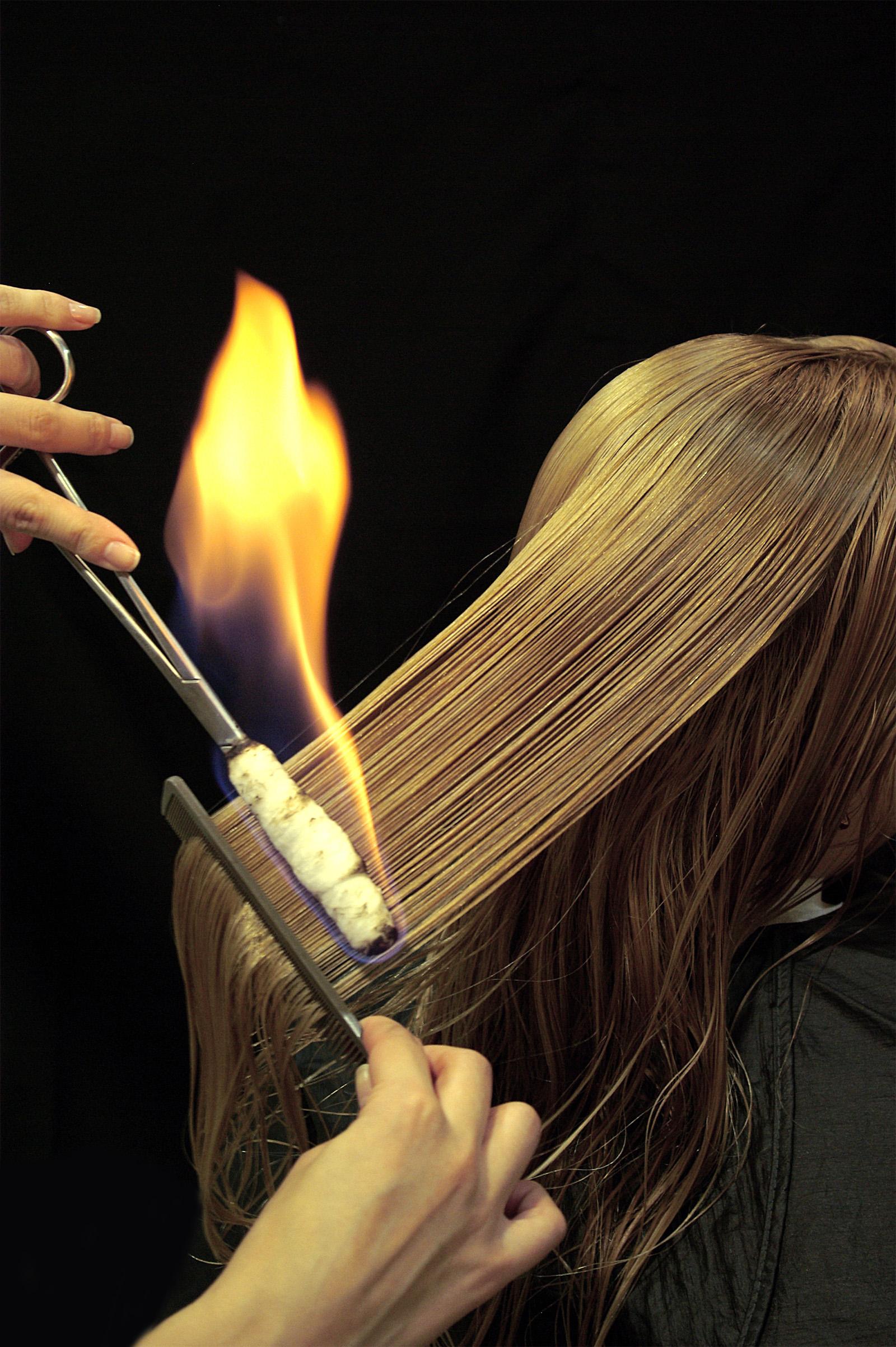 Cтрижка огнем - fire show для красоты ваших волос Обжиг волос огнем в домашних условиях